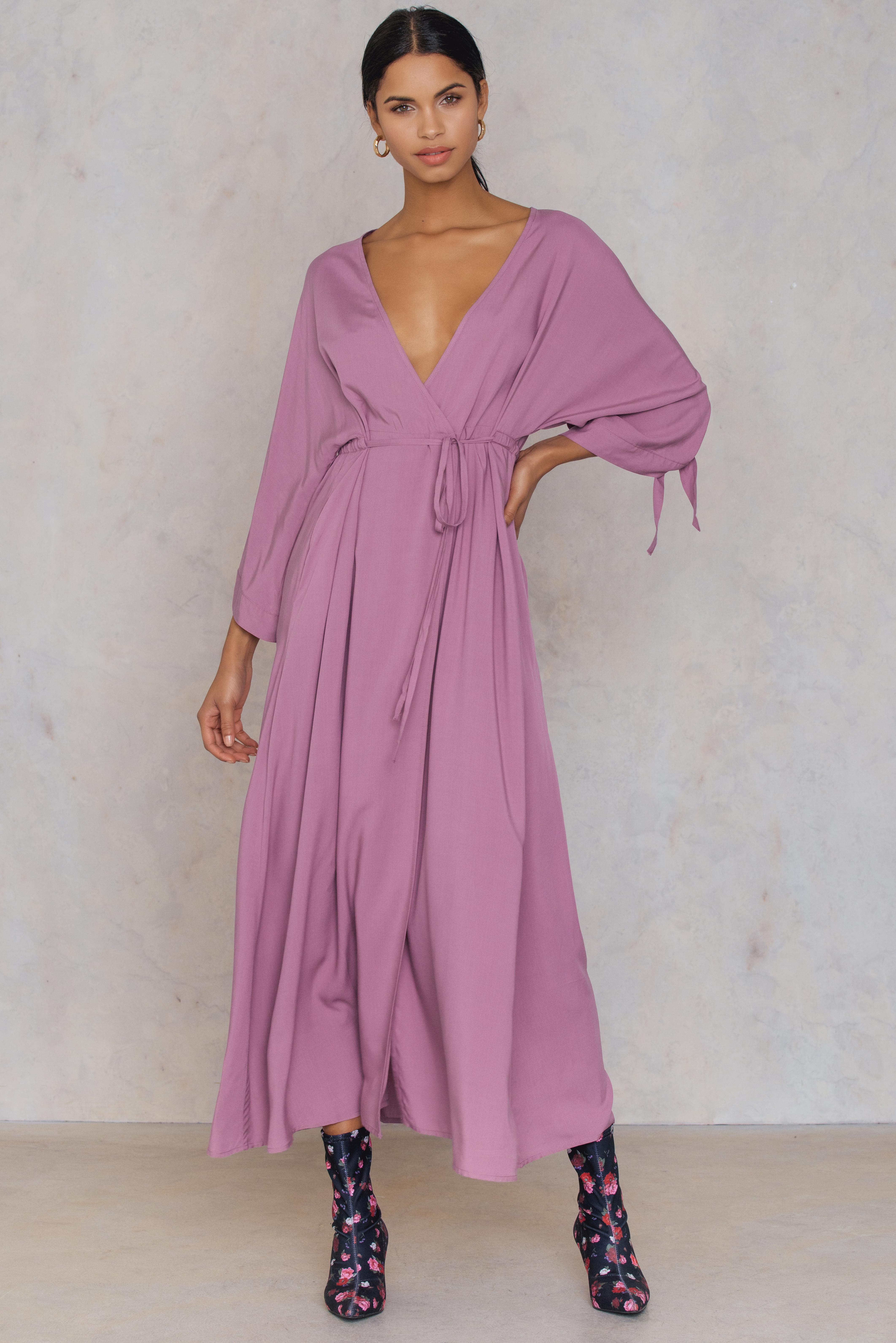 NA-KD Trend Tied Sleeve Coat Dress Purple