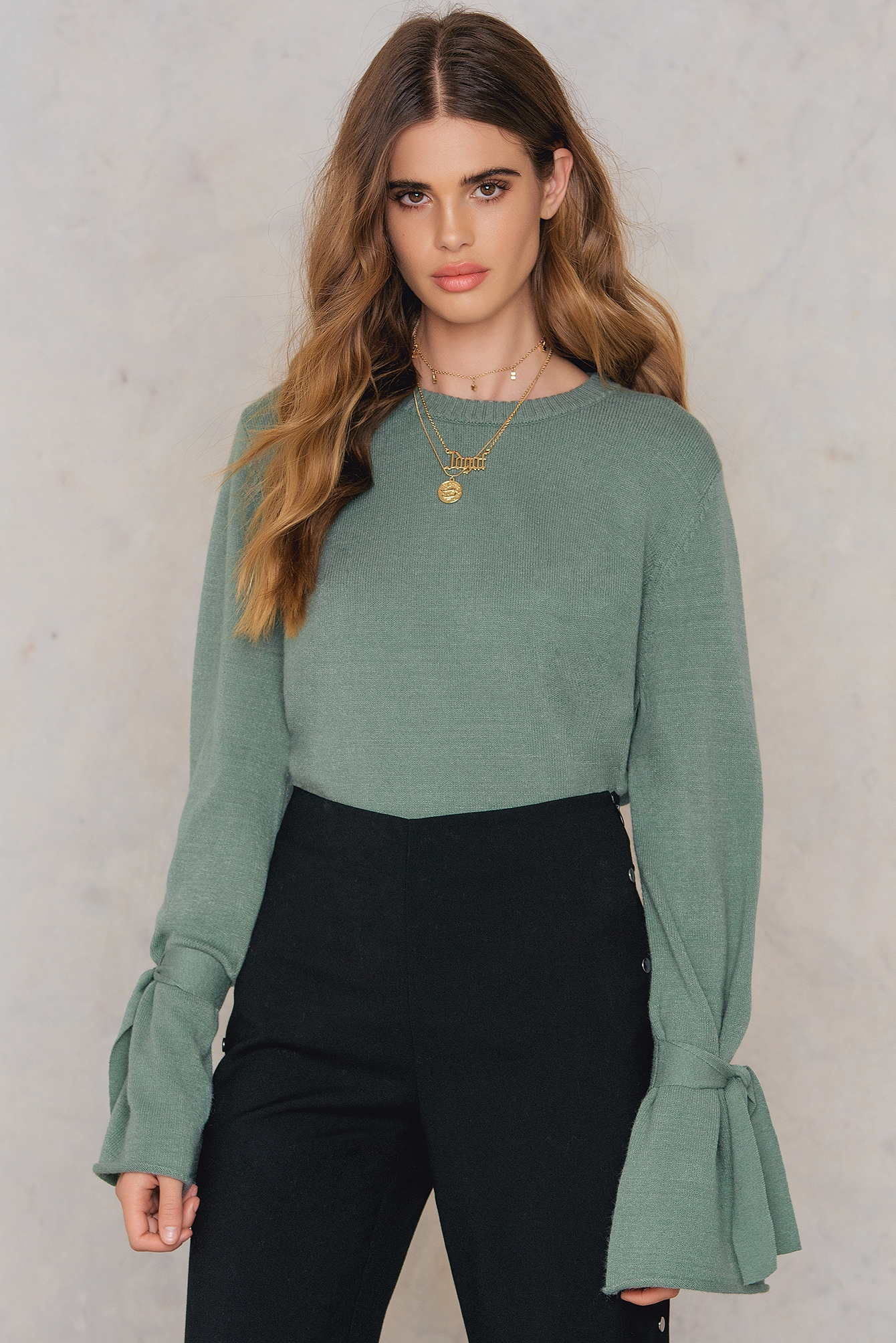 NA-KD Tied Sleeve Knitted Sweater Green