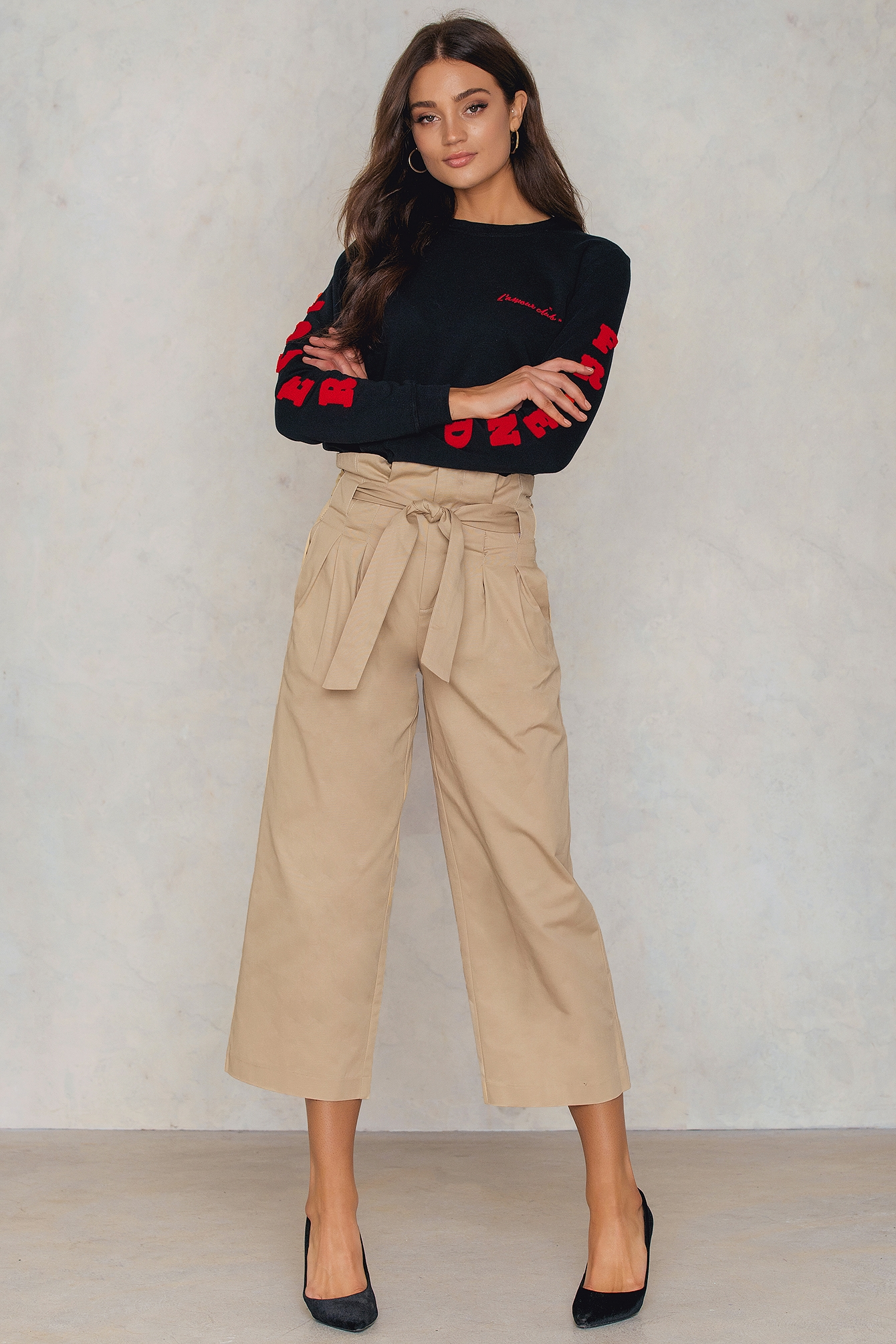 Tied Waist Wide Cotton Pants