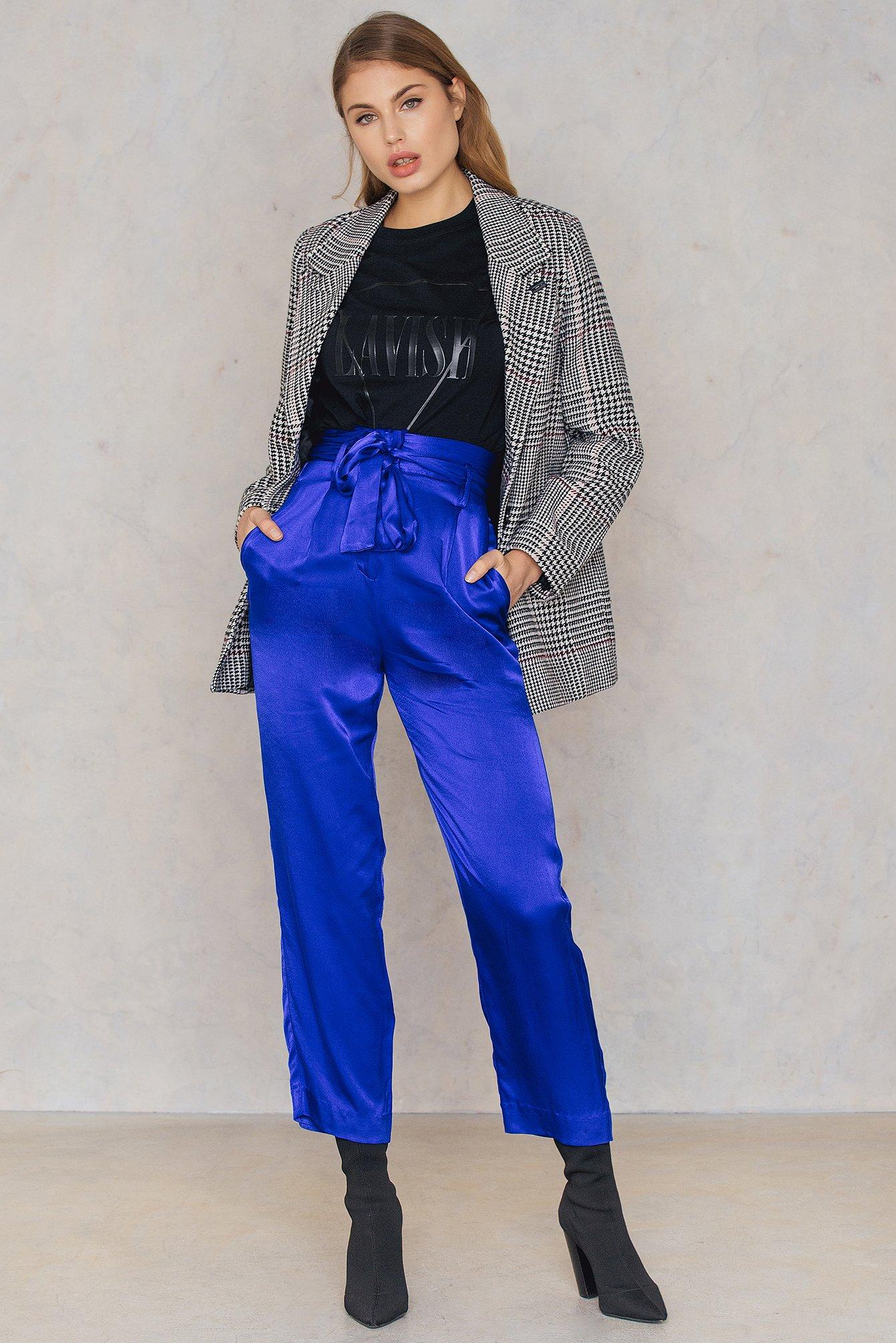 NA-KD Trend Tied Waist Satin Pants Blue