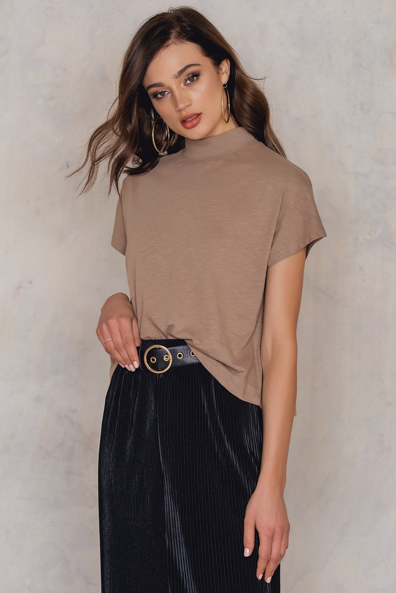 High Neck Cap Sleeve Top