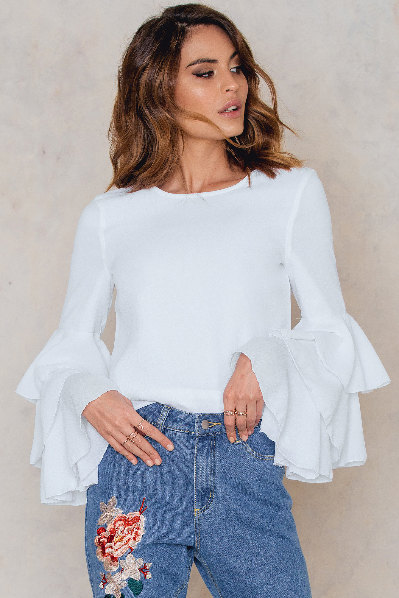 NA-KD Boho Triple Layer Flounce Blouse White