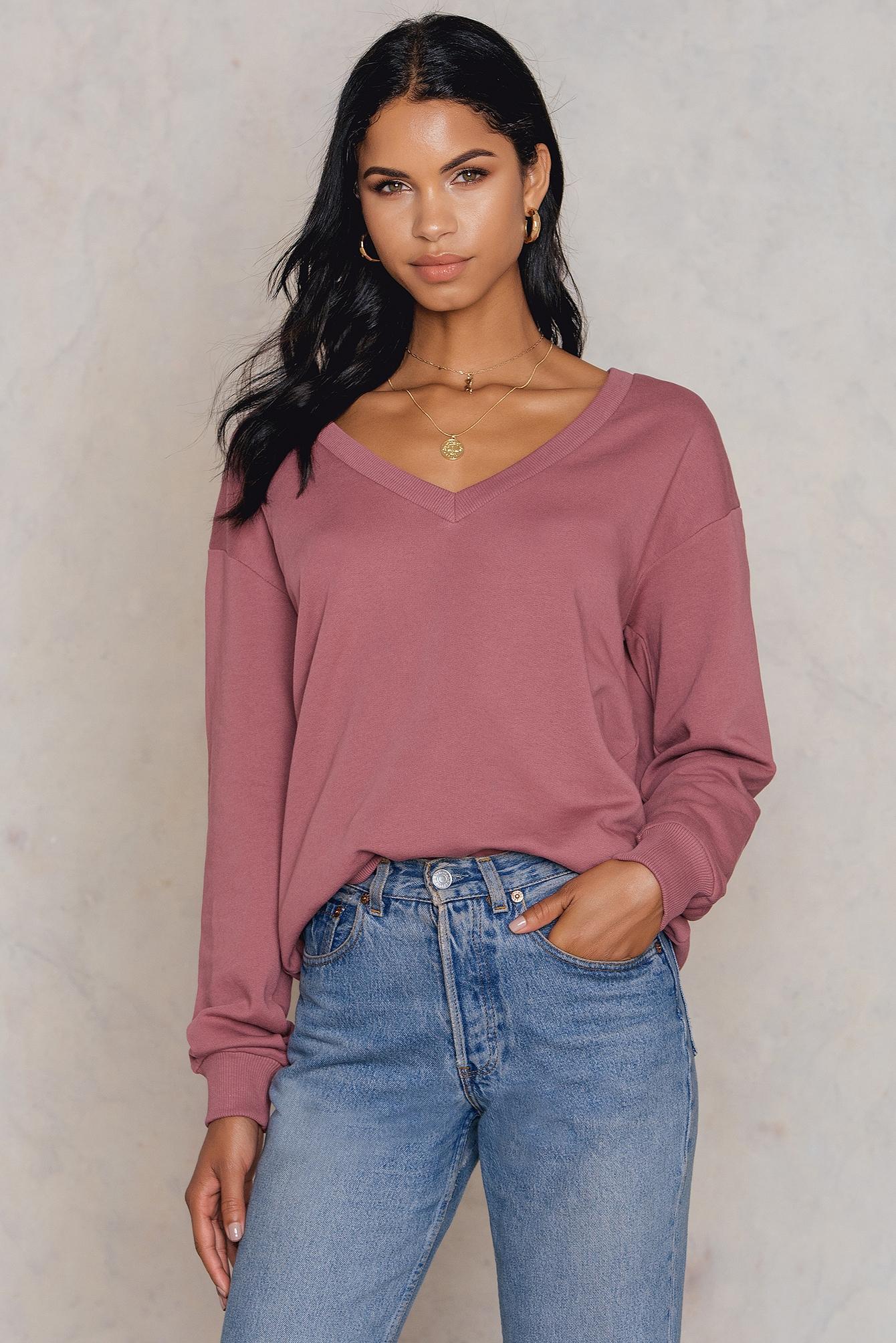 NA-KD Basic V-neck Basic Sweater Purple