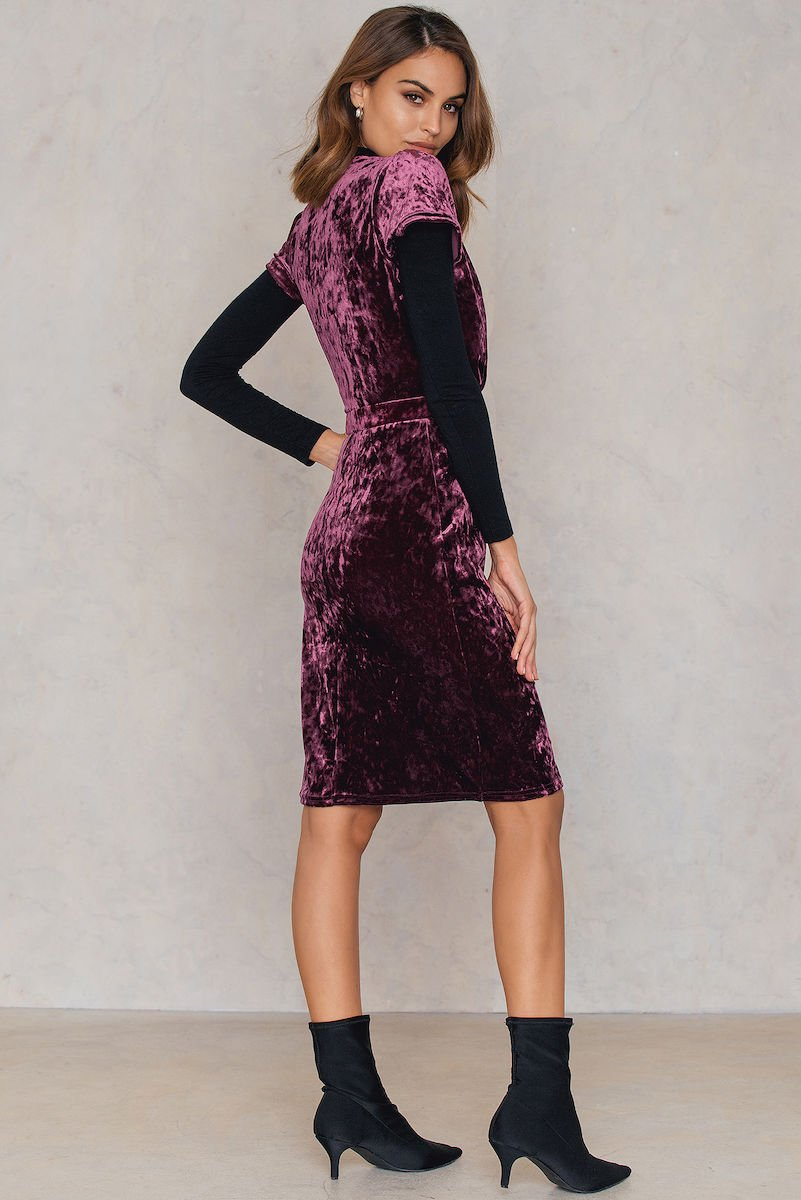 NA-KD Party Velvet Deep Neck Overlap Short Dress Purple, Pink by NA-KD Party
