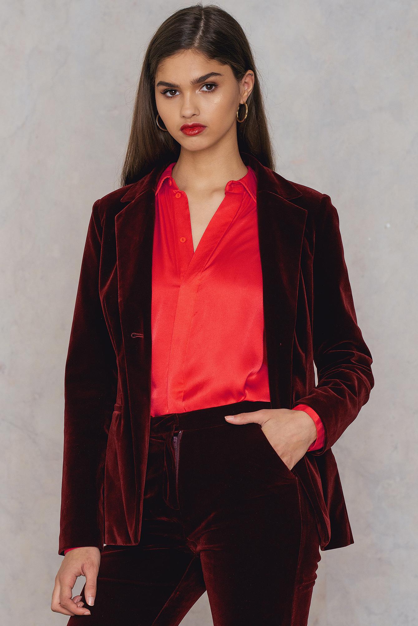 NA-KD Trend Velvet Fitted Blazer Red