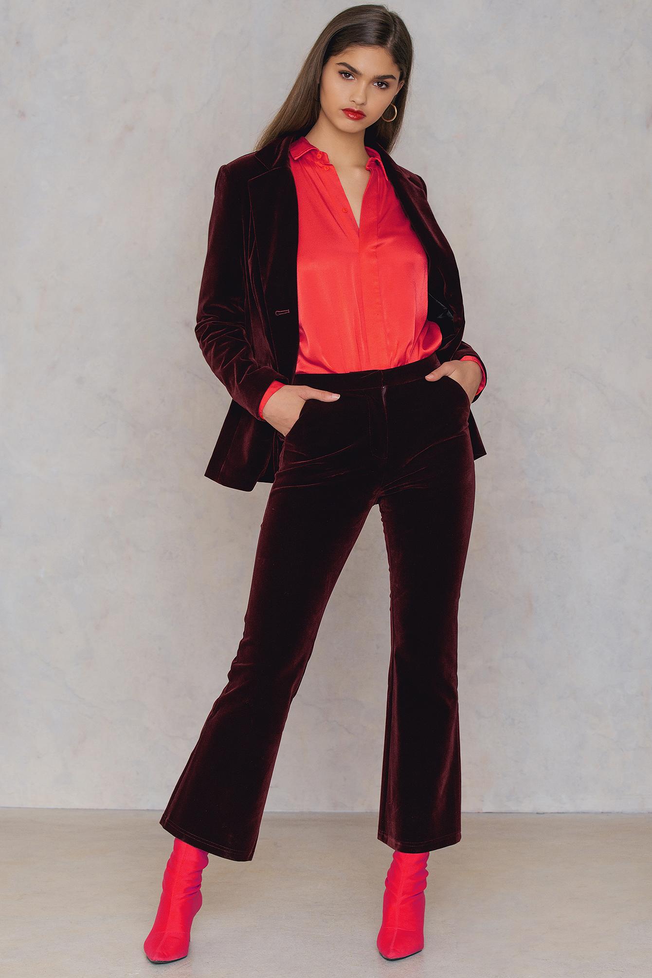 NA-KD Trend Velvet Trousers Red