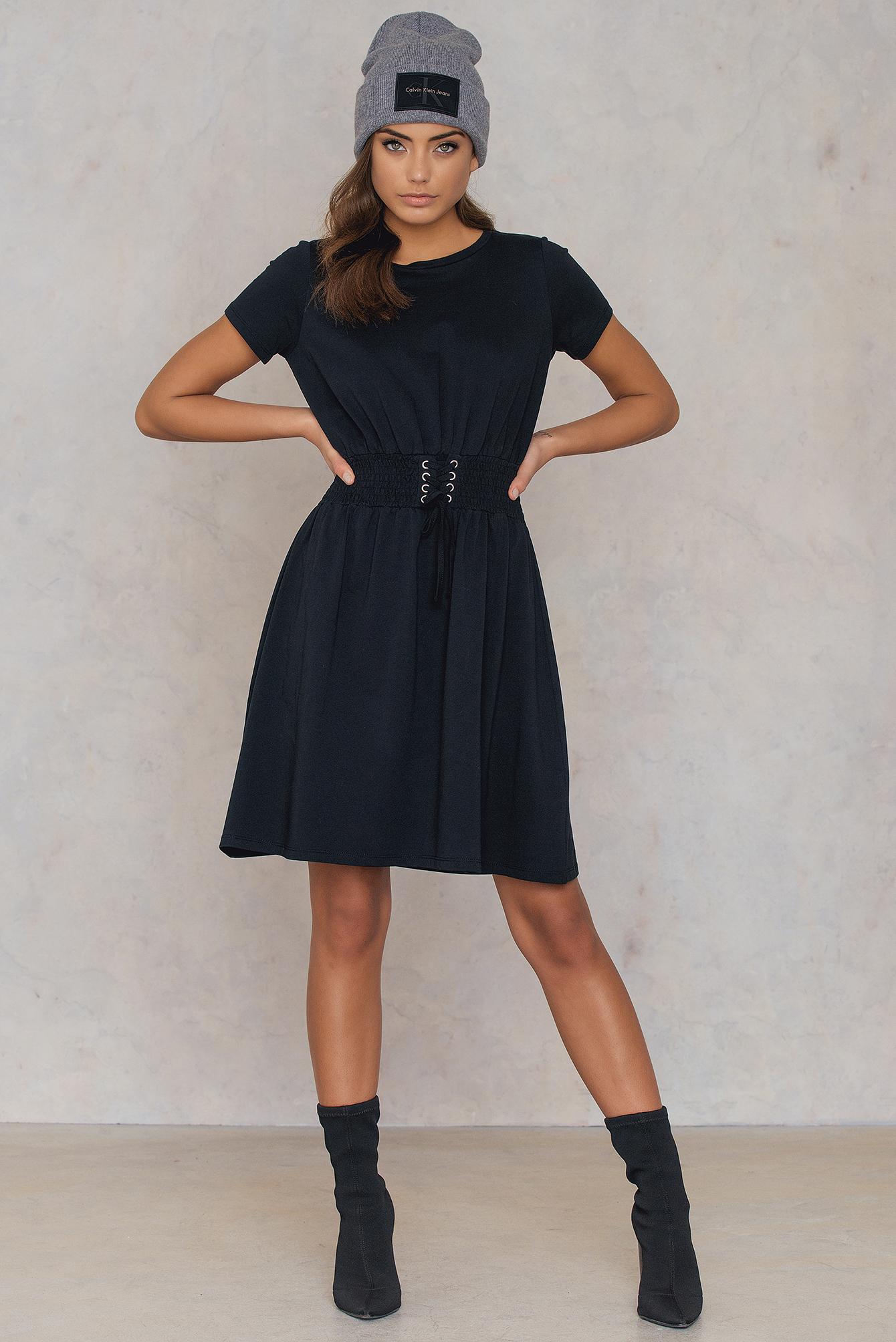 NA-KD Waist Smock Dress Black