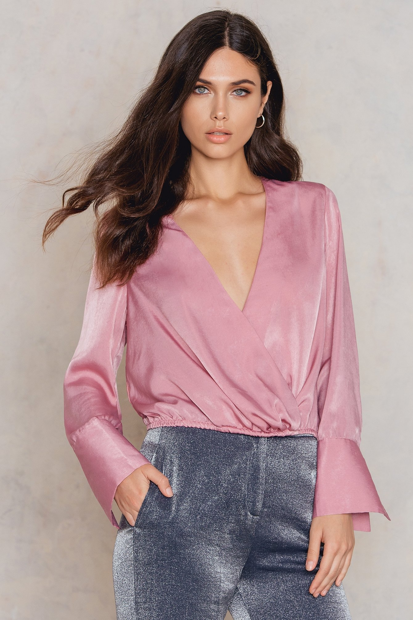 NA-KD Trend Wrap Satin Top Pink