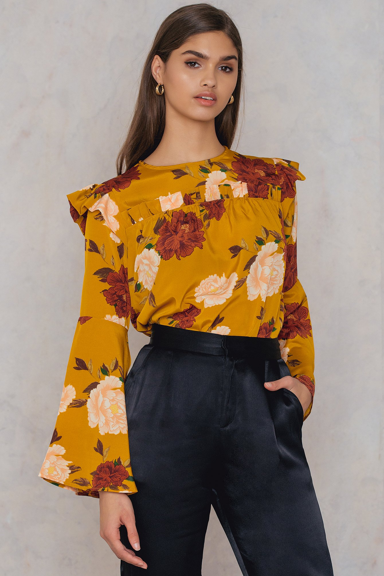 Neon Rose Daphne Floral Blouse Red, Yellow, Pink, Multicolor, Orange