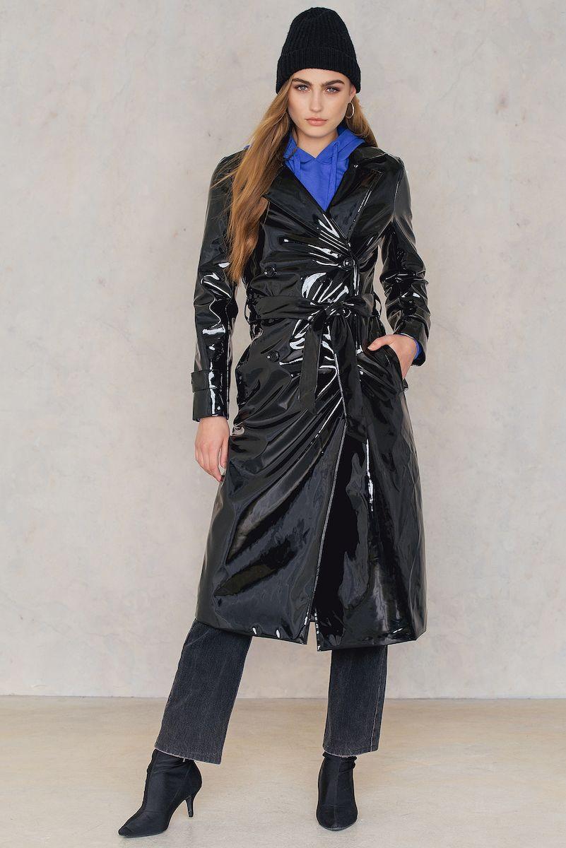 Rebecca Stella Patent Long Trench Black