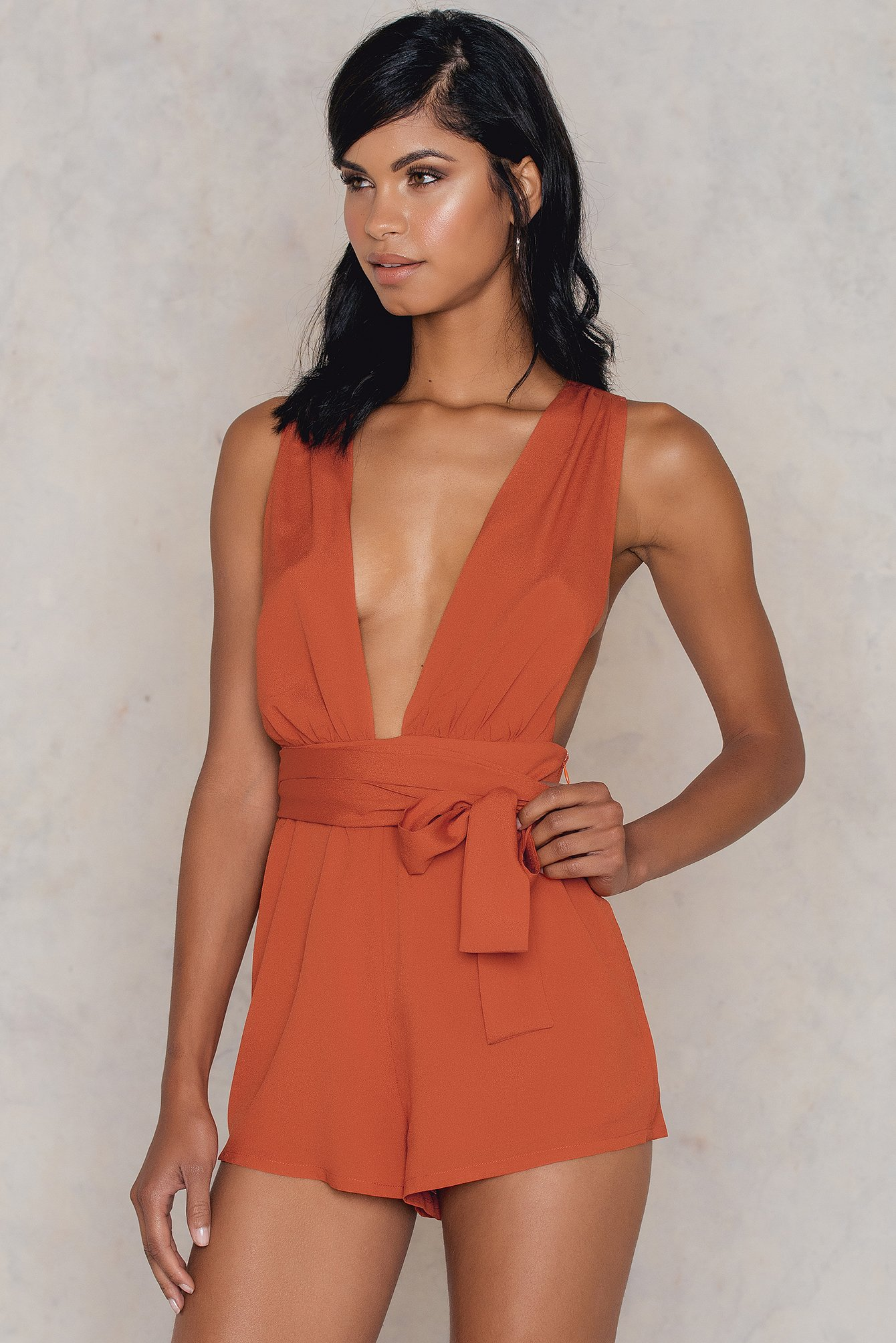 Roser Thick Cross Back Romper Orange