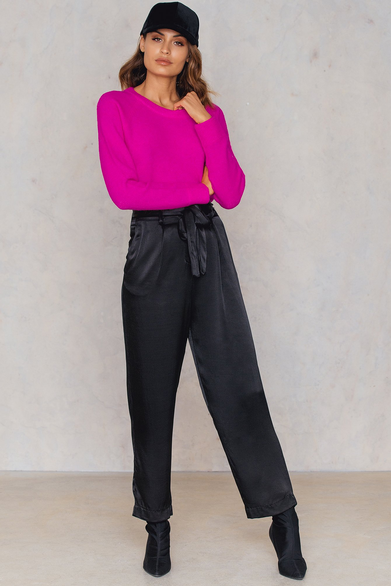 NA-KD Trend Tied Waist Satin Pants Black