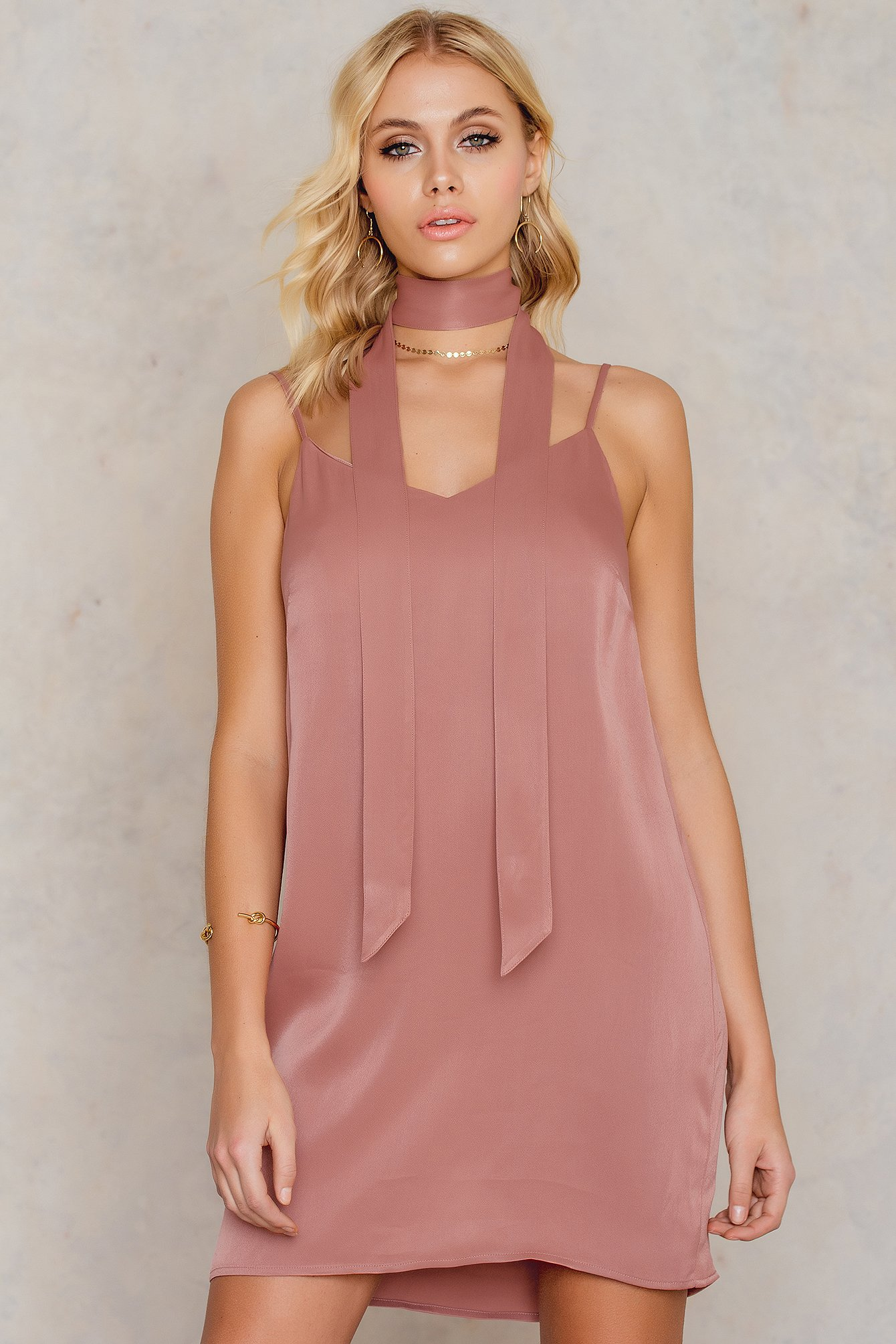 Mini Slip Dress with Scarf NA-KD.COM