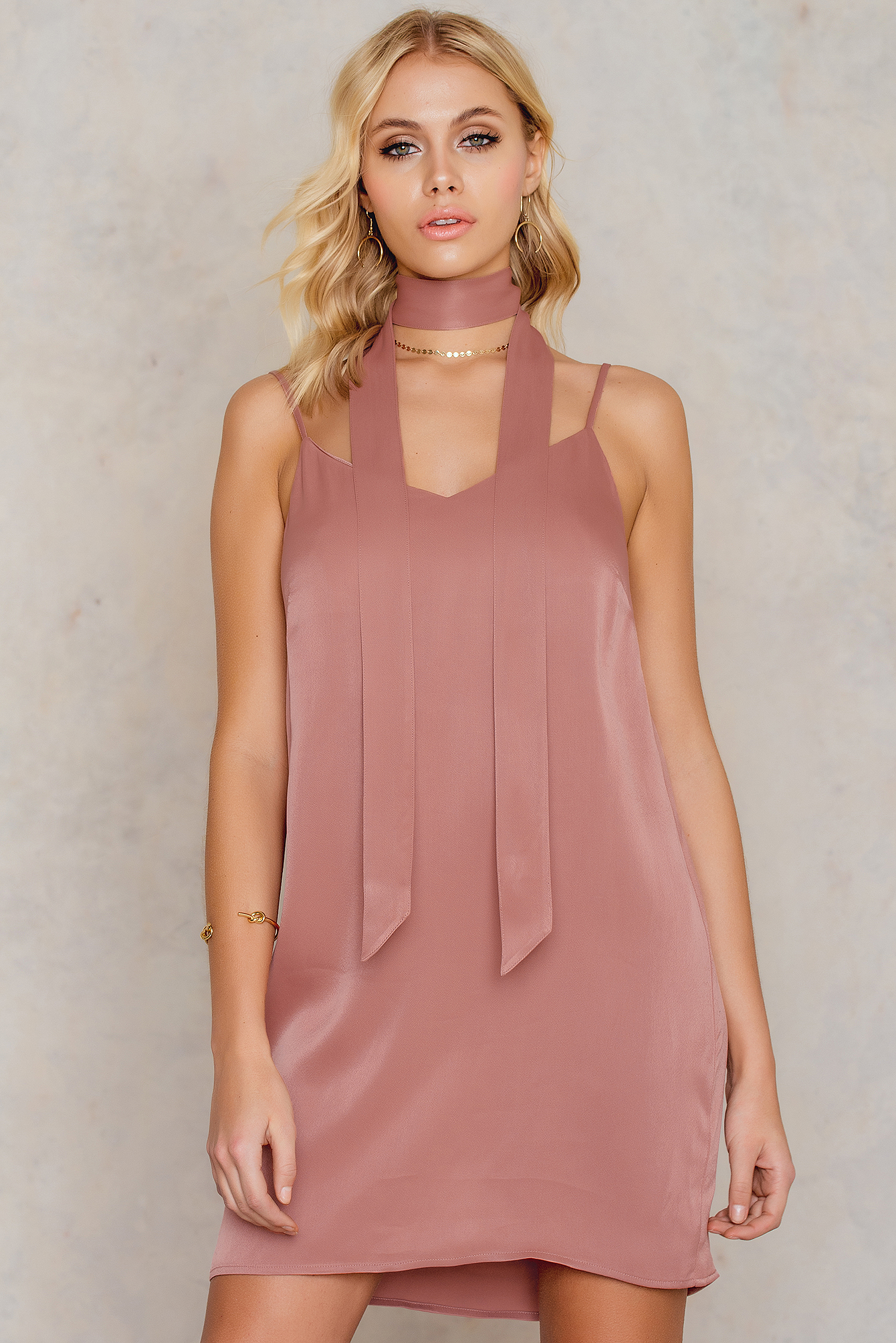 Tranloev Mini Slip Dress with Scarf Pink by Tranloev