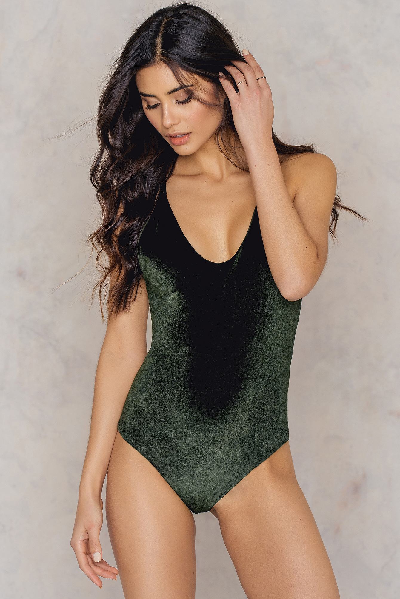 Hot Anatomy Velvet Swimsuit Green