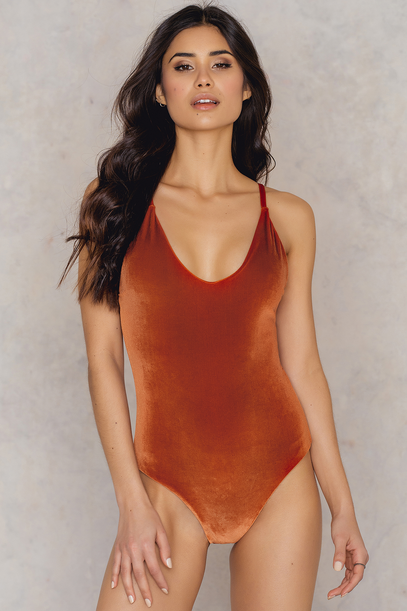 Hot Anatomy Velvet Swimsuit Orange