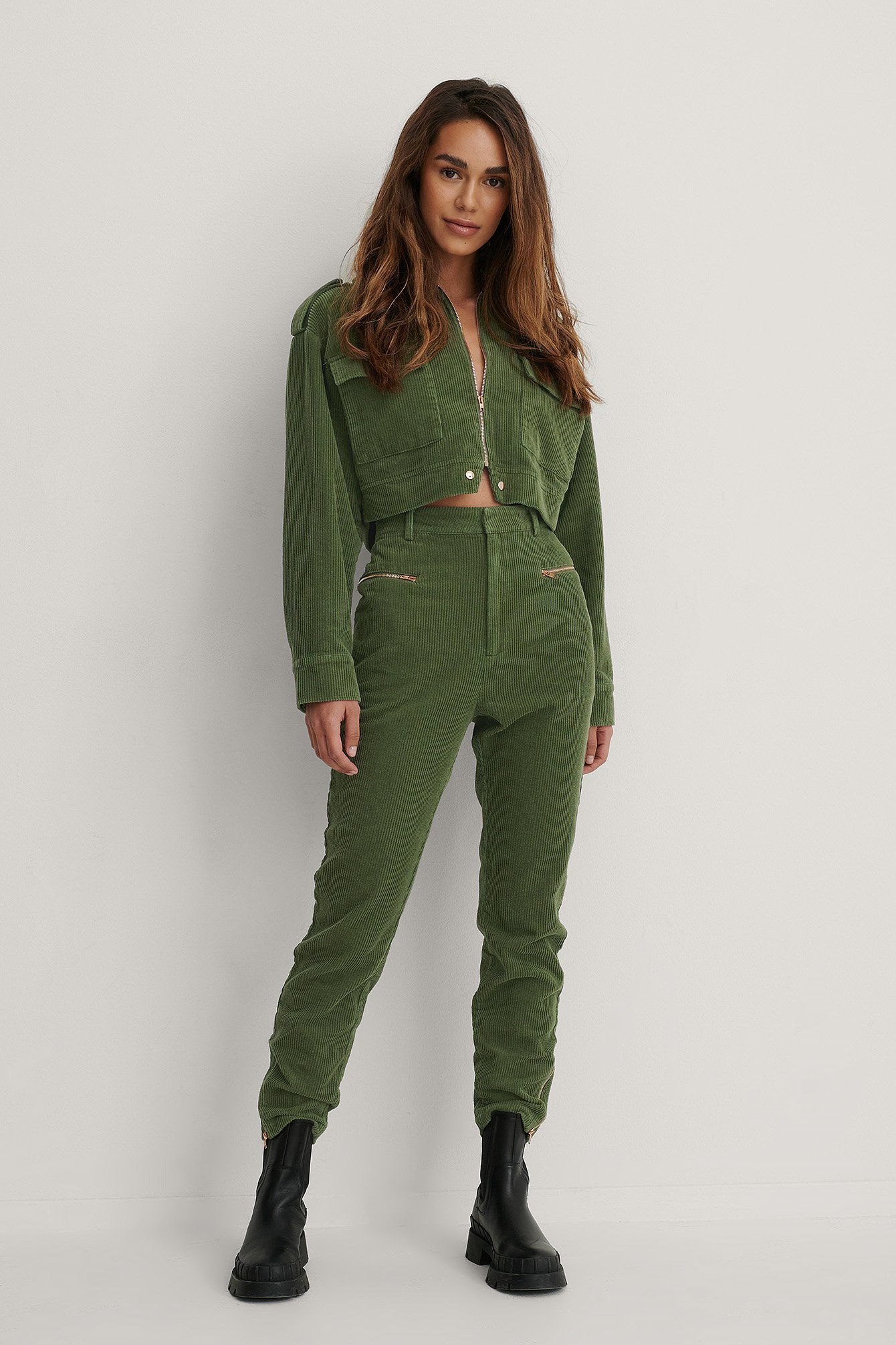 Army Green Zip Details Slim Pants