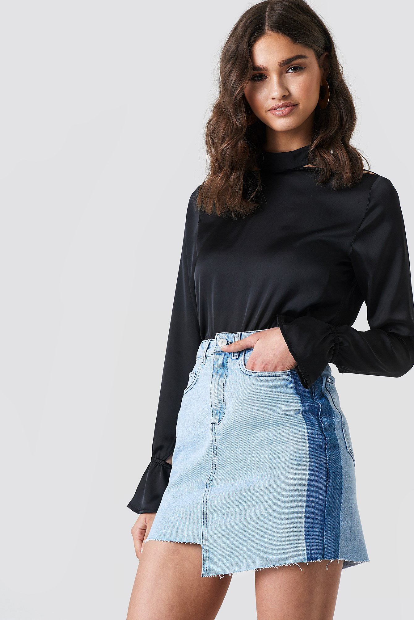 Asymmetric Short Denim Skirt NA-KD.COM