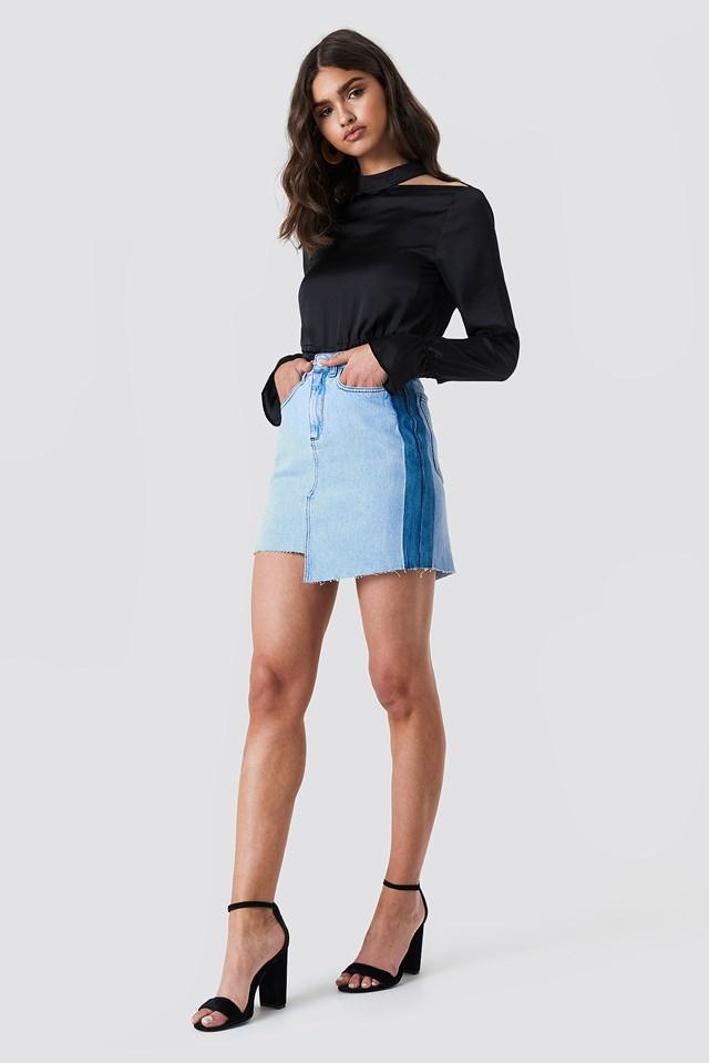 Asymmetric Short Denim Skirt Denim