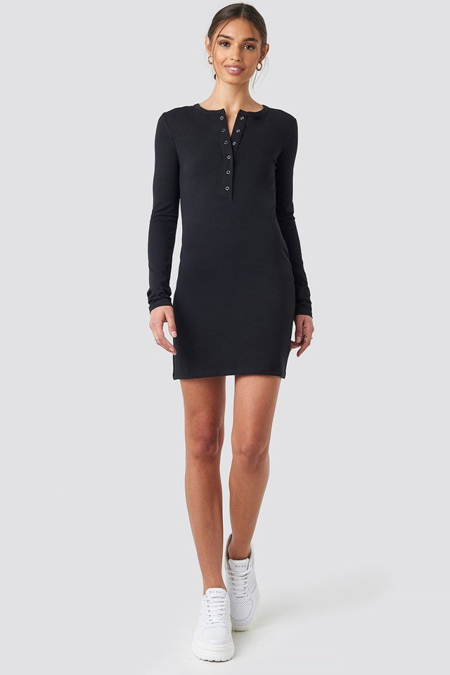 Button Up Mini Dress NA-KD.COM