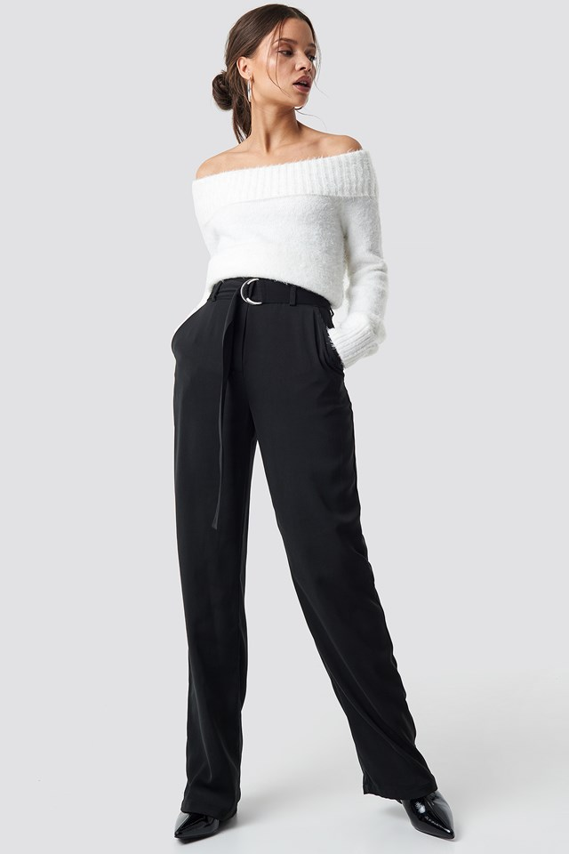 Flared Belted Pants Black