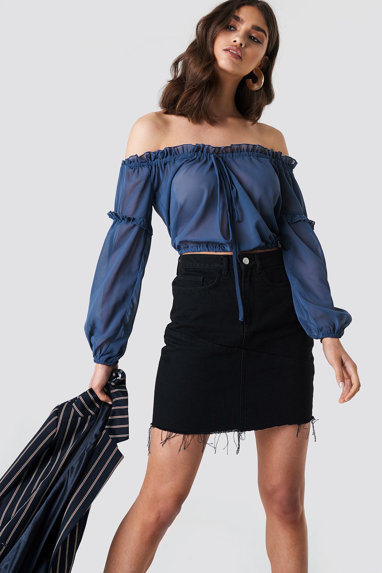 Frayed Bottom Short Demin Skirt NA-KD.COM