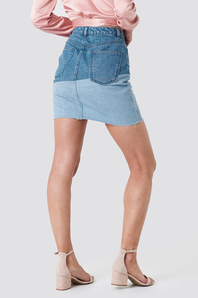 Frayed Bottom Short Demin Skirt Denim