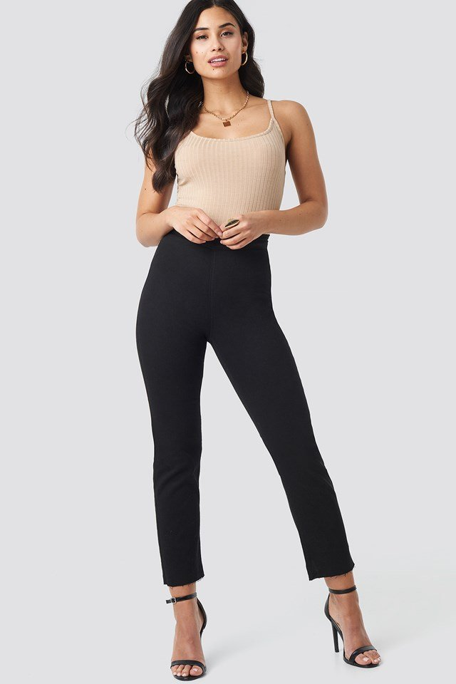 Highwaist Straight Leg Jeans Black