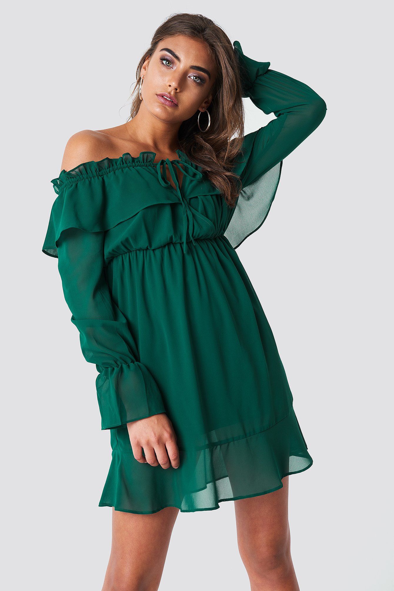 Off Shoulder Short Frill Dress NA-KD.COM