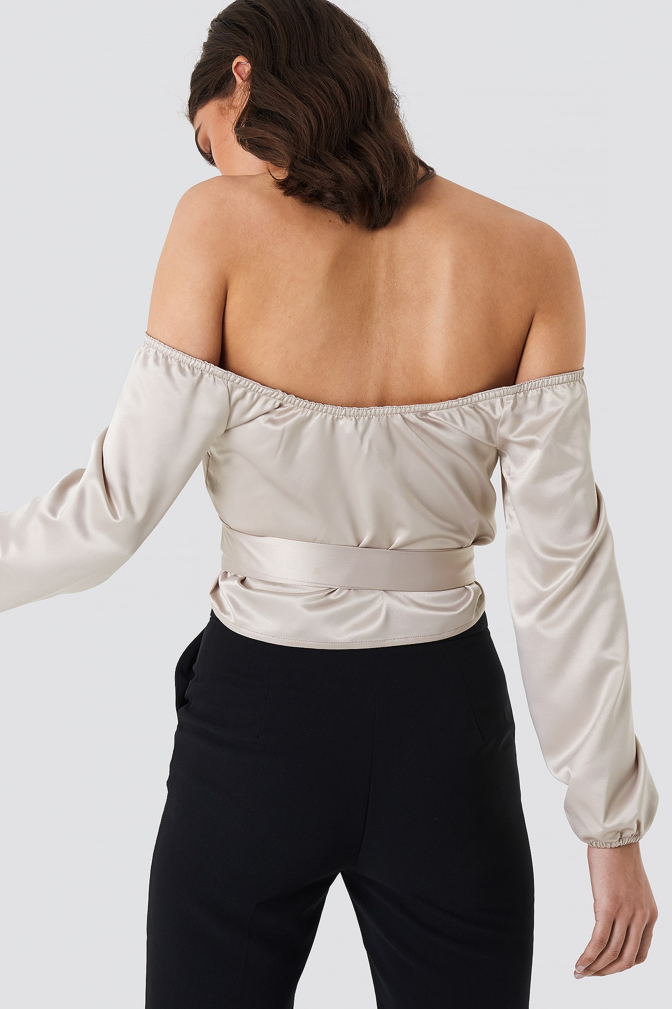 Satin Off Shoulder Top NA-KD.COM