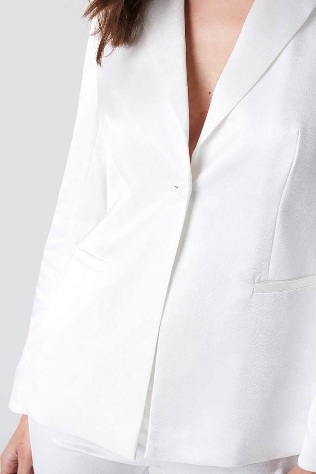 Satin Suit Jacket White