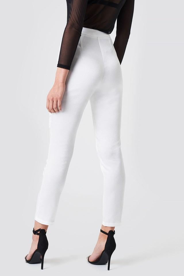 Satin Suit Pants White