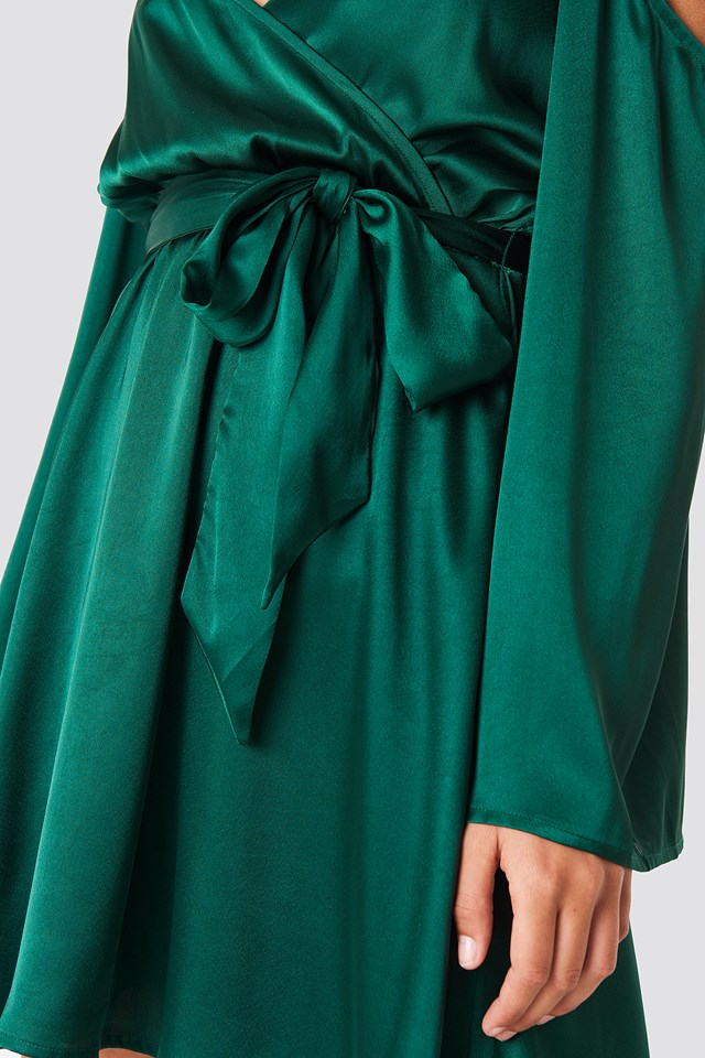 Cold Shoulder Satin Short Dress Deep Green