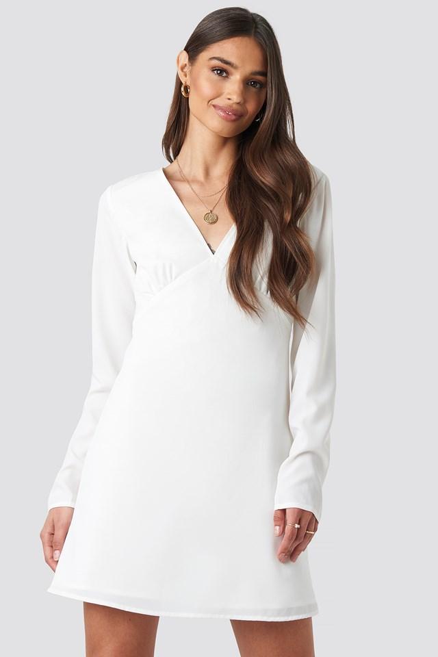 V-Neck Mini Dress White