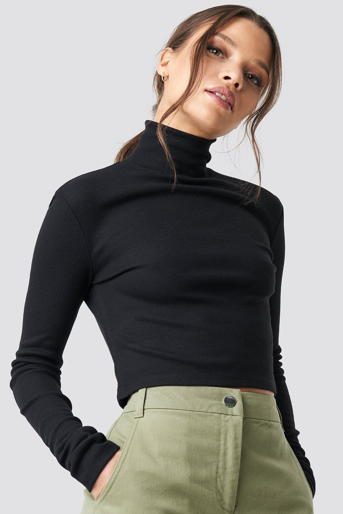 ivana santacruz x na-kd -  Ribbed Turtleneck Crop Top - Black