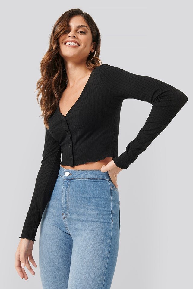 Button Detail Cropped Rib Top Black