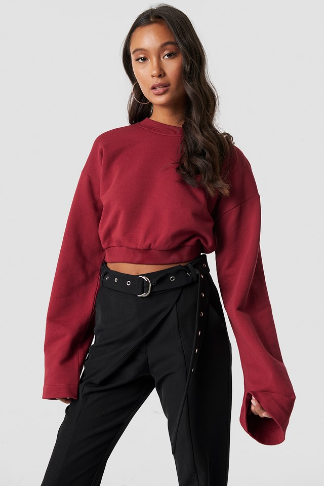 Cropped Wide Sleeve Sweatshirt Burgundy