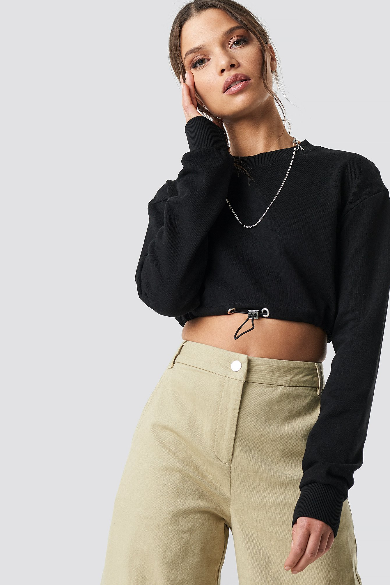 ivana santacruz x na-kd -  Drawstring Sweatshirt - Black