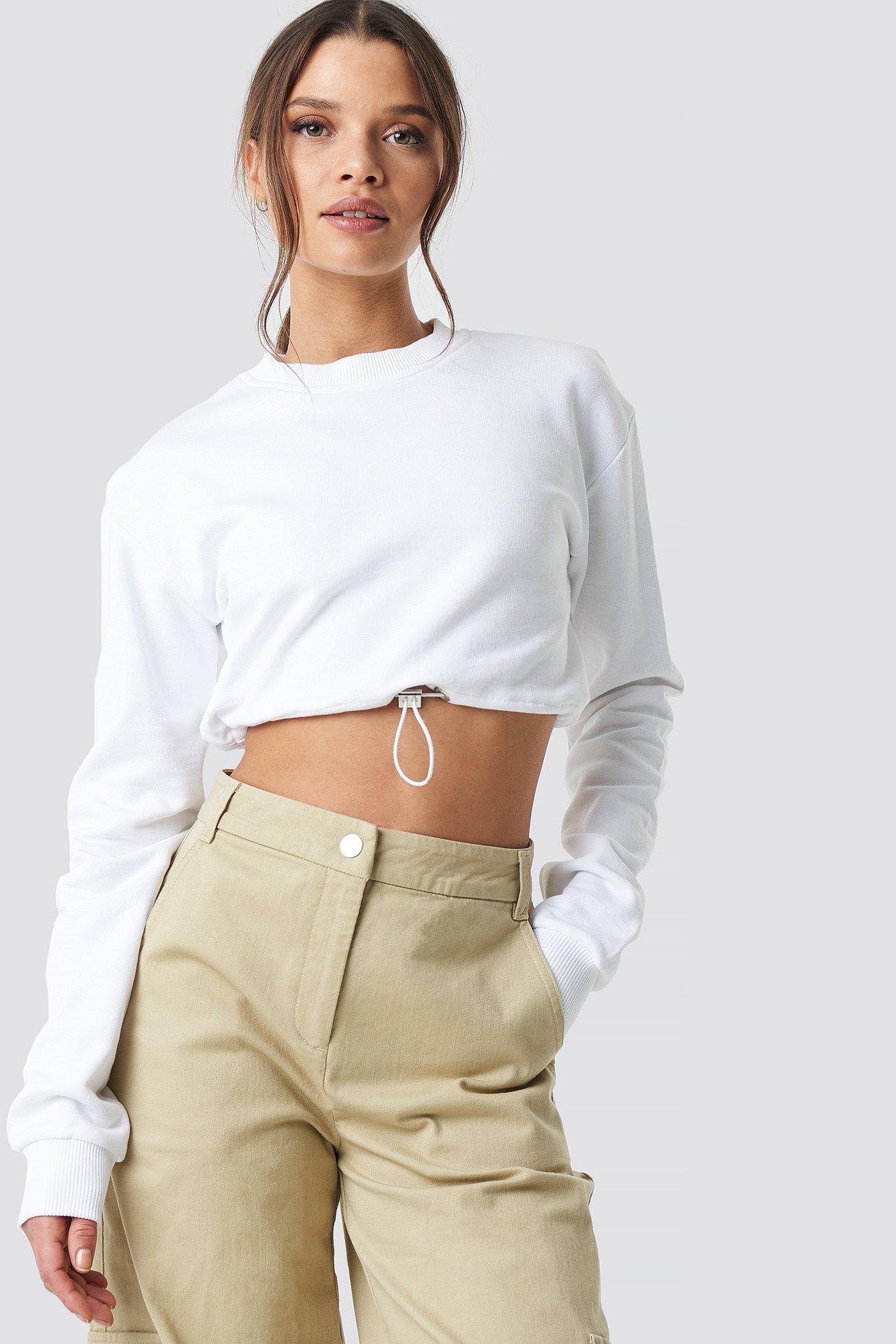 ivana santacruz x na-kd -  Drawstring Sweatshirt - White