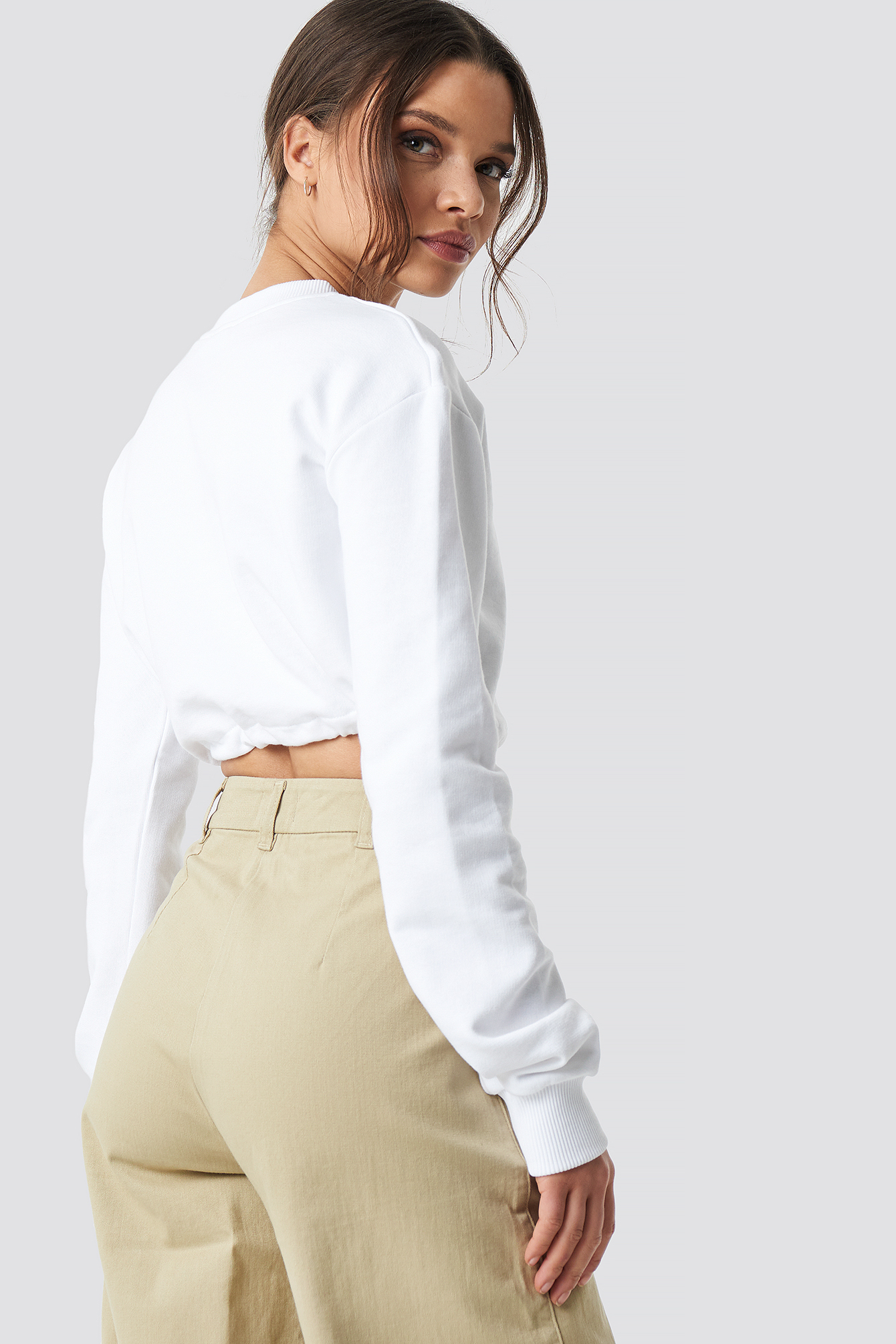 White Drawstring Sweatshirt