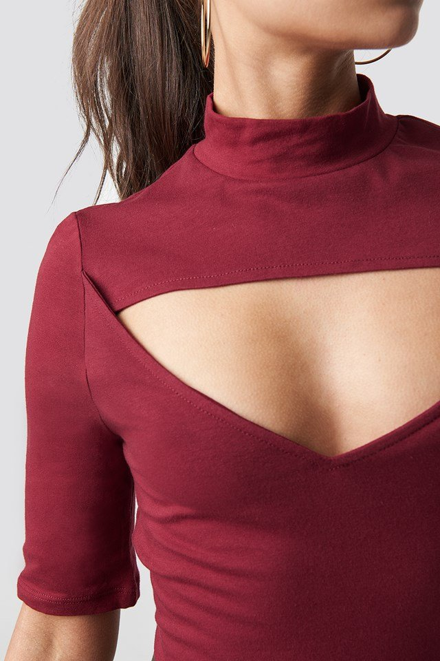 Jersey Cut-out Top Burgundy