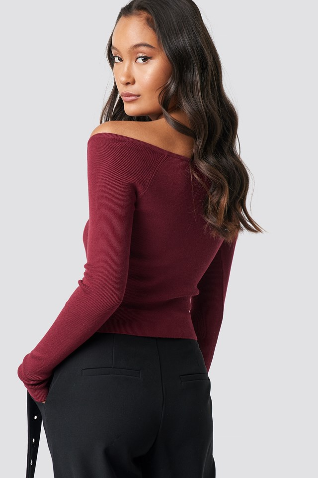 Off Shoulder Button Up Sweater Burgundy