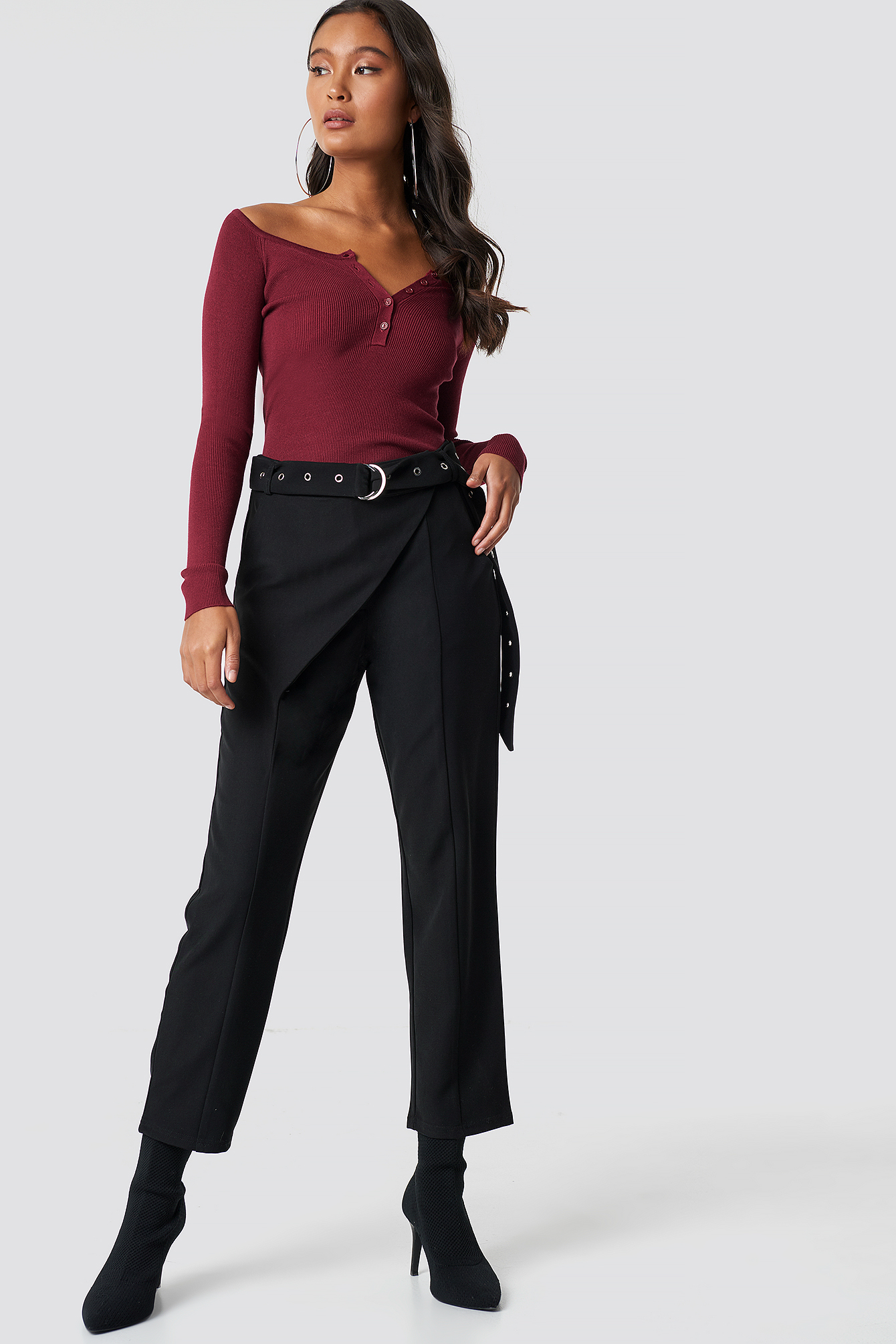 Off Shoulder Button Up Sweater Burgundy Na Kdcom