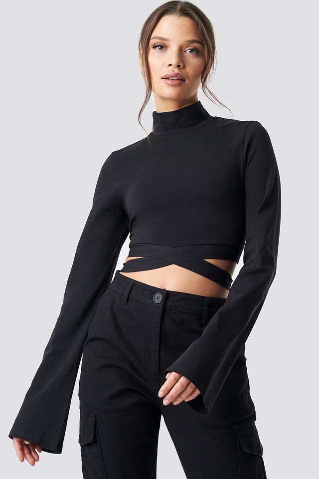Waist Strap Long Sleeve Crop Black