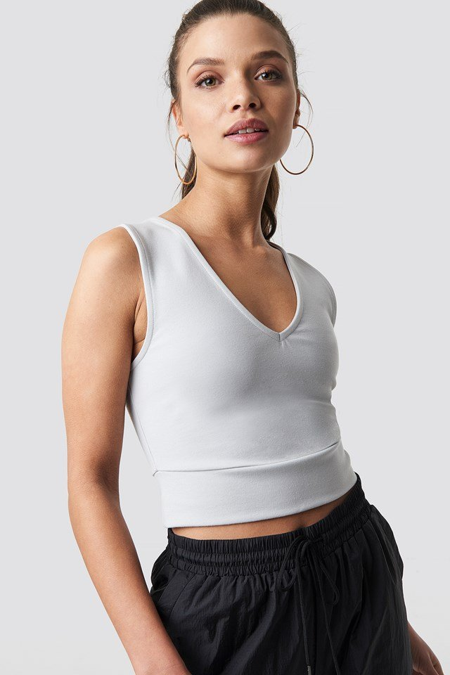 V-Neck Cropped Top Grey