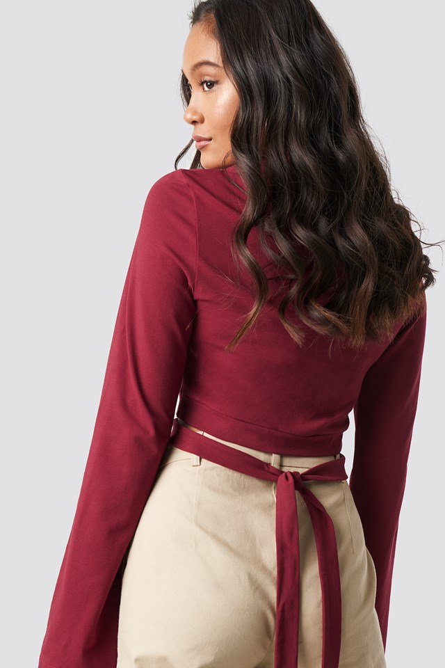 Waist Strap Long Sleeve Crop Burgundy