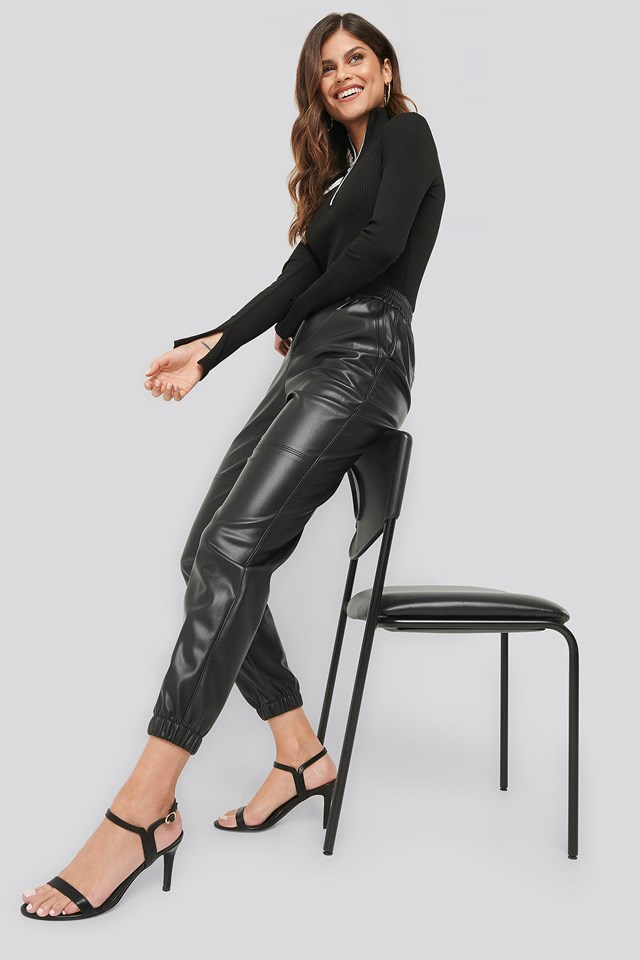 Faux Leather Jogger Pants Black