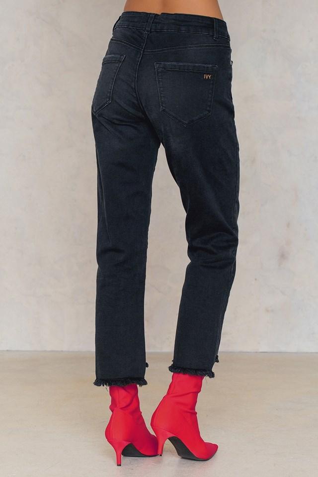 Ree Cropped Regular Jeans Black
