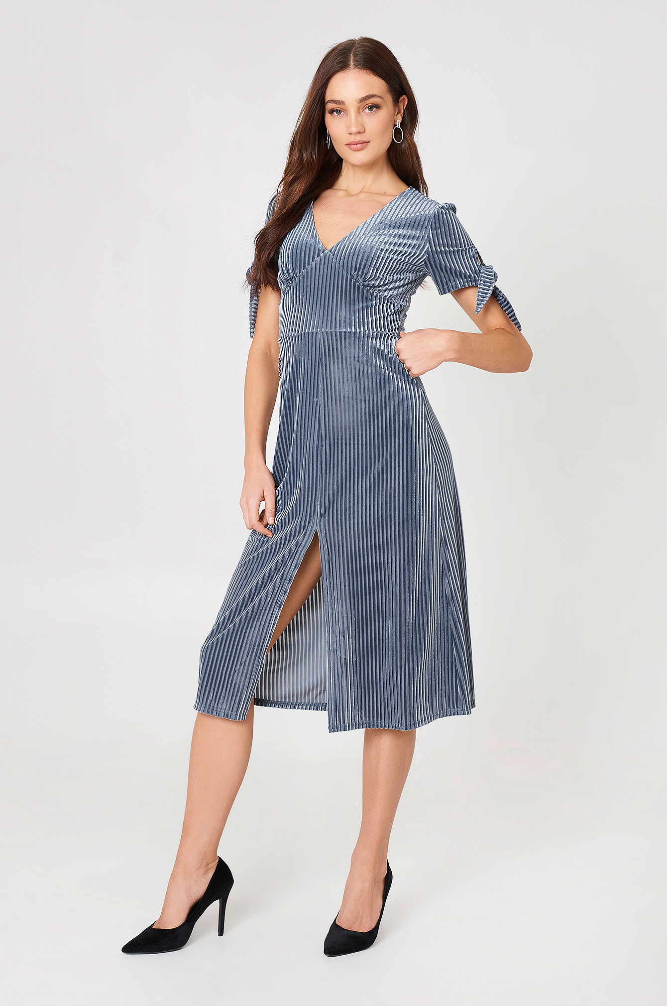Tie Sleeve Midi Dress NA-KD.COM