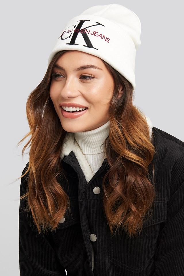 J Basic Women Knitted Beanie Hat Bright White